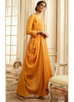Opulent Orange Rayon Cotton Handwork Designe Kurti