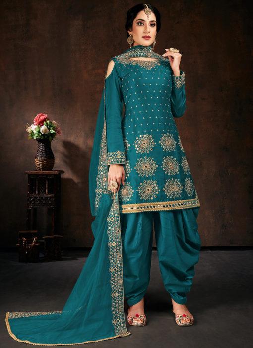 Elegant Rama Jam Cotton Real Mirror Work Designer Patiyala Salwar Suit