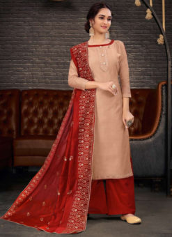 Mumtaz Brown Designer Chanderi Silk Embroidered Work Salwar Suit