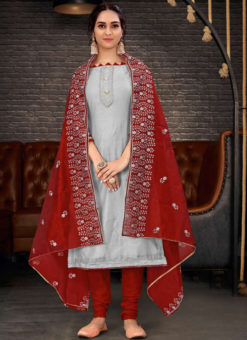 Mumtaz Grey Embroidered Work Designer Chanderi Silk Salwar Suit
