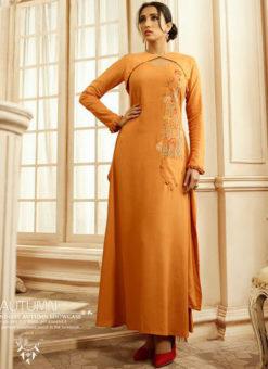 Shaded Orange Rayon Cotton Handwork Designer Kurti