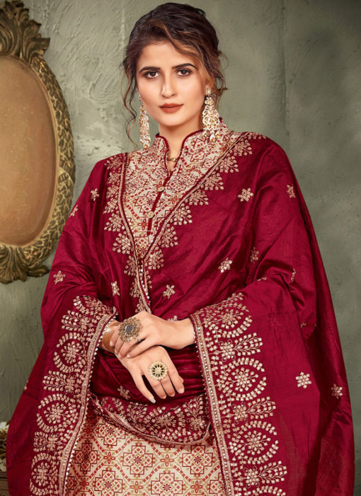 Lovely Golden Chanderi Silk Printed Party Wear Salwar Suit