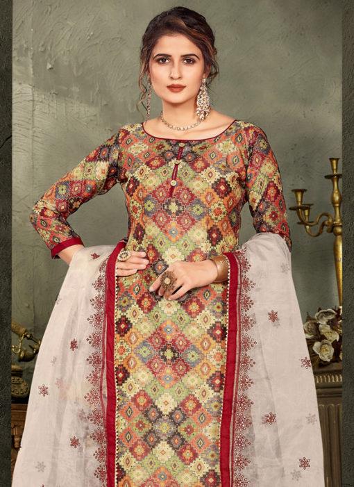 Multicolor Design Printed Chanderi Silk Party Wear Salwar Suit