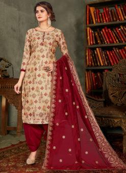 Amazing Cream Printed Designer Chanderi Silk Salwar Suit