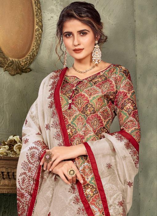 Multicolor Printed Designer Chanderi Silk Party Wear Salwar Suit