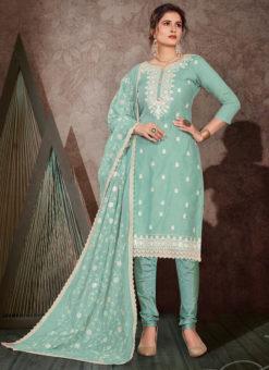 Gulnaz Designer Chanderi Silk Embroidered Work Salwar Suit