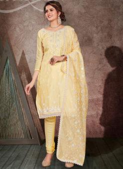 Gulnaz Yellow Chanderi Silk Embroidered Work Designer Salwar Suit