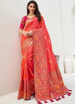 Vrindavan Pink Silk Zari Weaving And Tassel Wedding Wear Saree