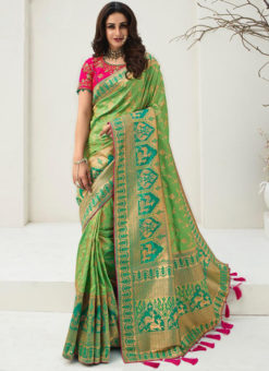 Vrindavan Green Silk Zari Weaving And Tassel Wedding Wear Saree