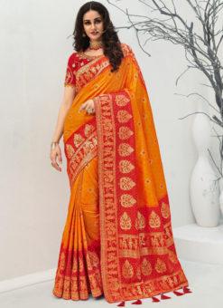 Vrindavan Yellow Silk Zari Weaving And Tassel Wedding Wear Saree