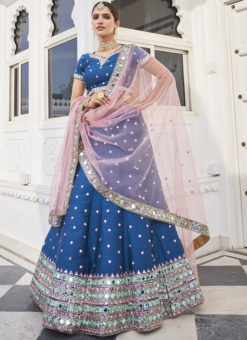 Fabulous Blue Silk Zari And Mirror Work Designer Lehenga Choli