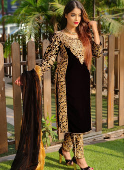 Eira Black Velvet Embroidered And Stone Work Party Wear Salwar Suit