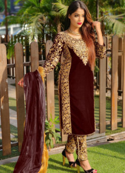 Eira Brown Velvet Embroidered And Stone Work Party Wear Salwar Suit