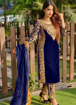 Eira Blue Velvet Embroidered And Stone Work Party Wear Salwar Suit