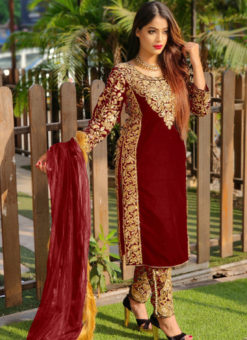 Eira Maroon Velvet Embroidered And Stone Work Party Wear Salwar Suit