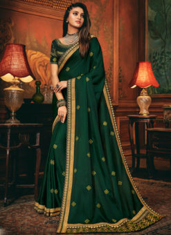 Party Wear Satin Silk Beautiful Green Embroidered Work Saree