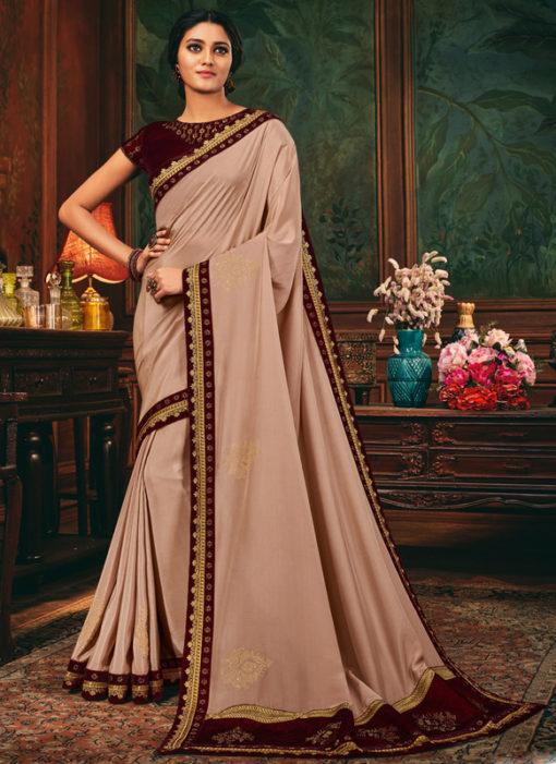 Attractive Lace Border Satin Silk Designer Pink Saree