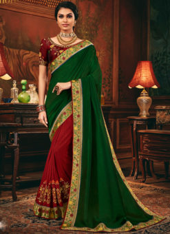 Excellent Green And Red Embroidered Work Wedding Designer Saree