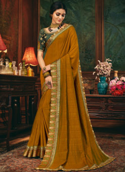 Mustard Yellow Satin Silk Embroidered Border Party Wear Elegant Saree