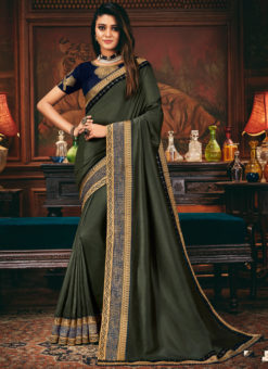 Elegant Greenish Shaded Satin Georgette Patch Border Party Wear Saree