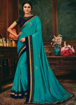Lace Border Designer Satin Sailk Awesome Blue Saree