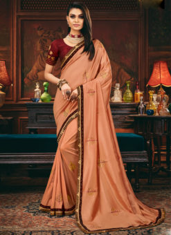 Beautiful Embroidered Work Satin Silk Designer Peach Saree