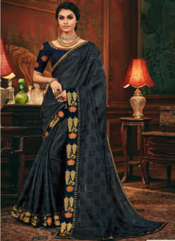 Satin Silk Embroidered Border Designer Navy Blue Saree