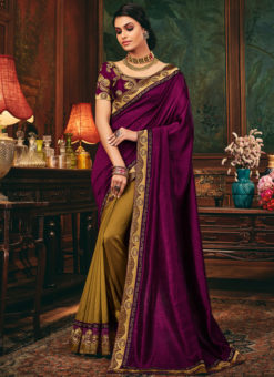 Lovely Falsa And Mustard Satin Silk Patch Border Designer Saree