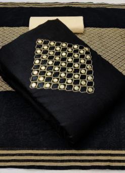 Desinger Balck Slub Cotton Mirror Work Dress Material