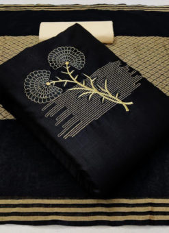 Slub Cotton Black Designer Mirror Work Dress Material