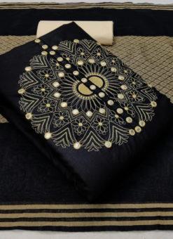 Mirror Work Slub Cotton Designer Black Dress Material
