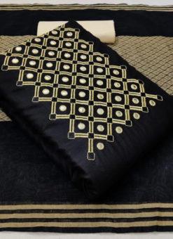 Slub Cotton Designer Mirror Work Designer Dress Material