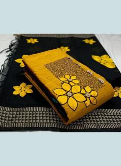 Amazing Yellow Slub Cotton Casual Wear Jacquard Work Dress Material