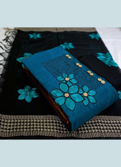 Beautiful Blue Slub Cotton Casual Wear Jacquard Work Dress Material