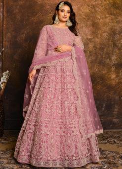 Lavish Purple Net With Heavy Work Designer Anarkali Suit