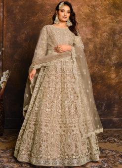 Classic Light Brown Net With Heavy Work Designer Anarkali Suit