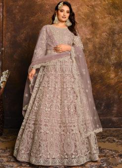 Amazing Net With Heavy Work Lavender Designer Anarkali Suit