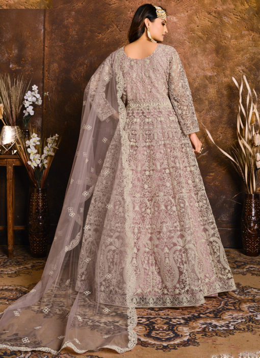 Amazing Net With Heavy Work Lavender Designer Anarkali Suit