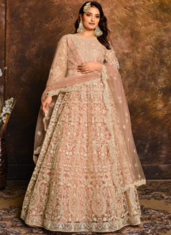 Net With Heavy Work Lovely Peach Designer Anarkali Suit