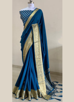 Classic Blue Silk With Woven Border And Sequence Blouse Designer Saree