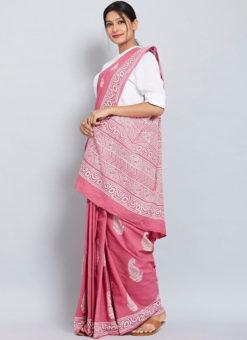 Classic Hot Pink Chanderi Silk Digital Print Casual Wear Saree