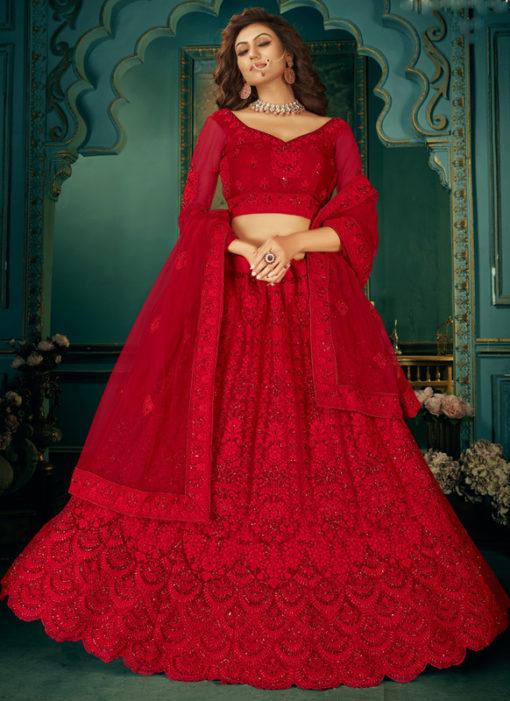 Lavish Red Net With Satin Embroidered Work Wedding Lehenga Choli