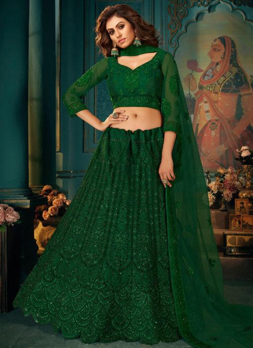 Beautiful Green Net With Satin Embroidered Work Wedding Lehenga Choli