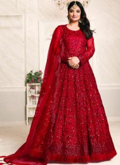 Aanaya Red Net Thread & Sequence Work Designer Anarkali Suit