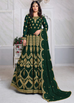 Aanaya Green Georgette Embroidered Work Designer Eid Salwar Suit