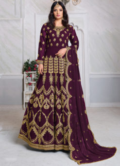 Aanaya Purple Georgette Embroidered Work Designer Eid Salwar Suit