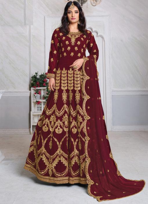 Aanaya Maroon Georgette Embroidered Work Designer Eid Salwar Suit