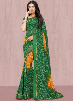 Winsome Green Georgette Lace Border Traditional Saree