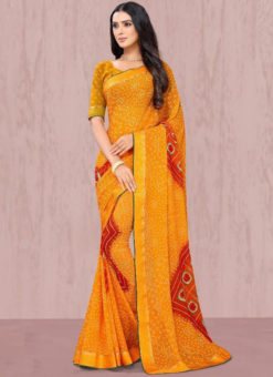 Enchanting Yellow Georgette Lace Border Traditional Saree