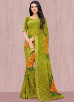 Ravishing Green Georgette Lace Border Traditional Saree